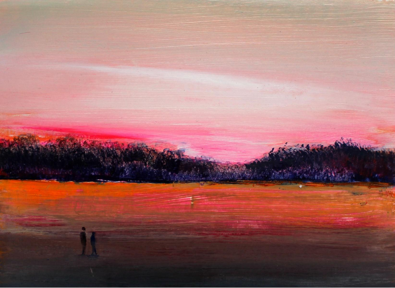 Landscape III - Acrylic Figurative Painting, Vibrant colors, Pink & orange