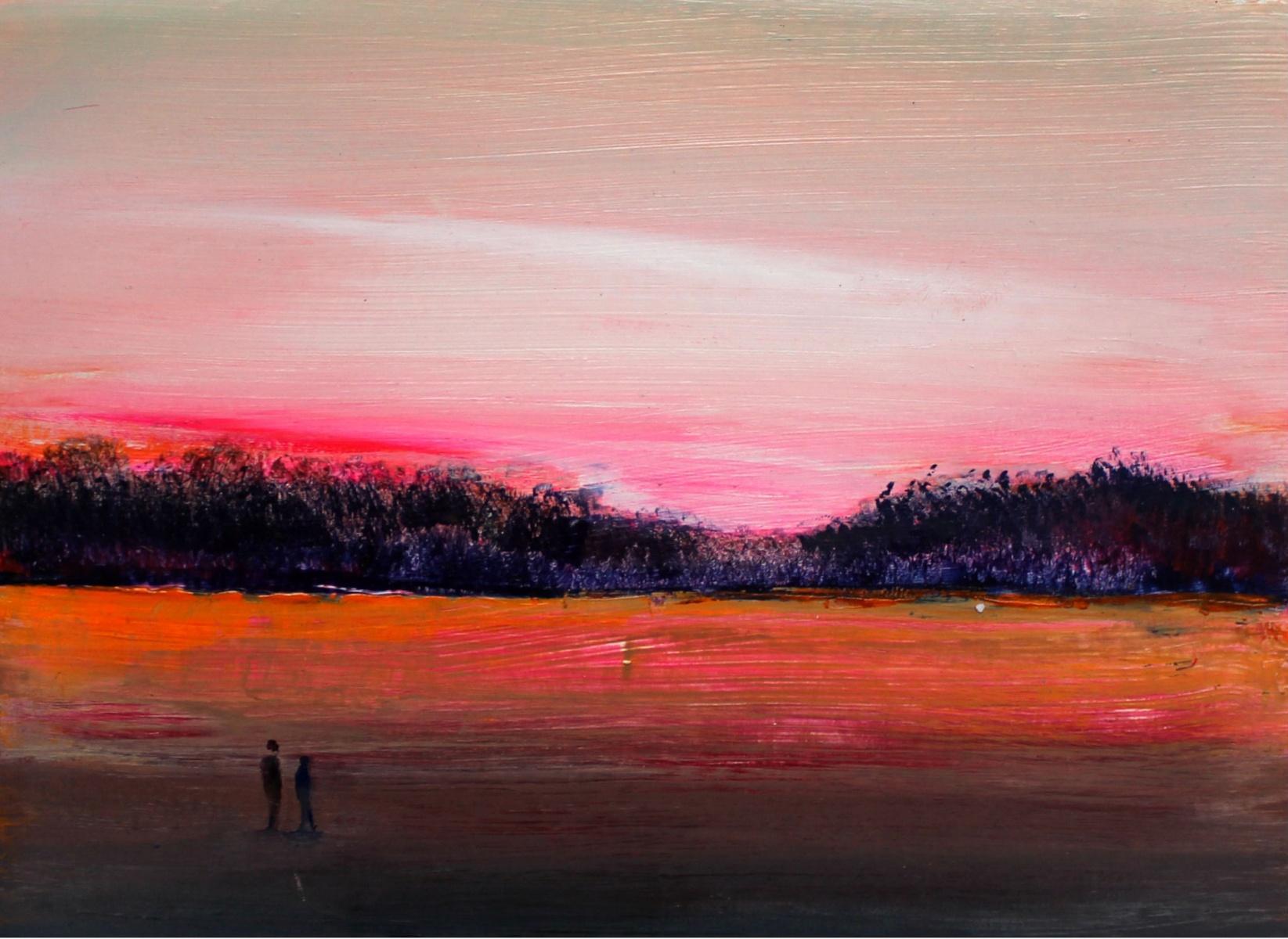 Landscape III - Acrylic Figurative Painting, Vibrant colors, Pink & orange