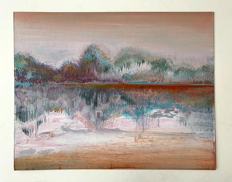 Landscape III- XXI Century, Contemporary Acrylic Painting, Landscape - Gray Landscape Painting by Barbara Hubert