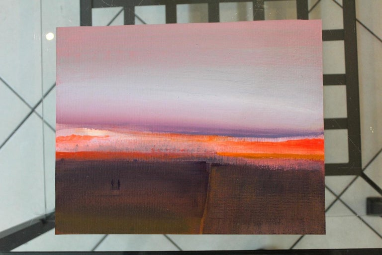 Landscape IV - Acrylic Landscape Painting, Muted colors with Bright Accents For Sale 1