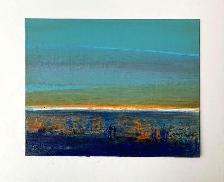 Landscape IX - XXI Century, Contemporary Acrylic Painting, Landscape - Blue Figurative Painting by Barbara Hubert