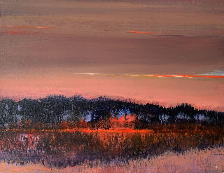 Barbara Hubert Figurative Painting - Landscape V- XXI Century, Contemporary Acrylic Painting, Landscape