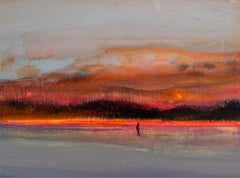 Landscape VI - Acrylic Figurative Painting, Vibrant colors, Grey & orange