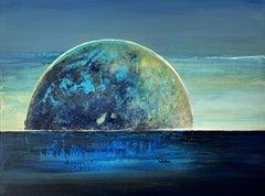Landscape VI - XXI Century, Contemporary Acrylic Figurative Painting, Moon
