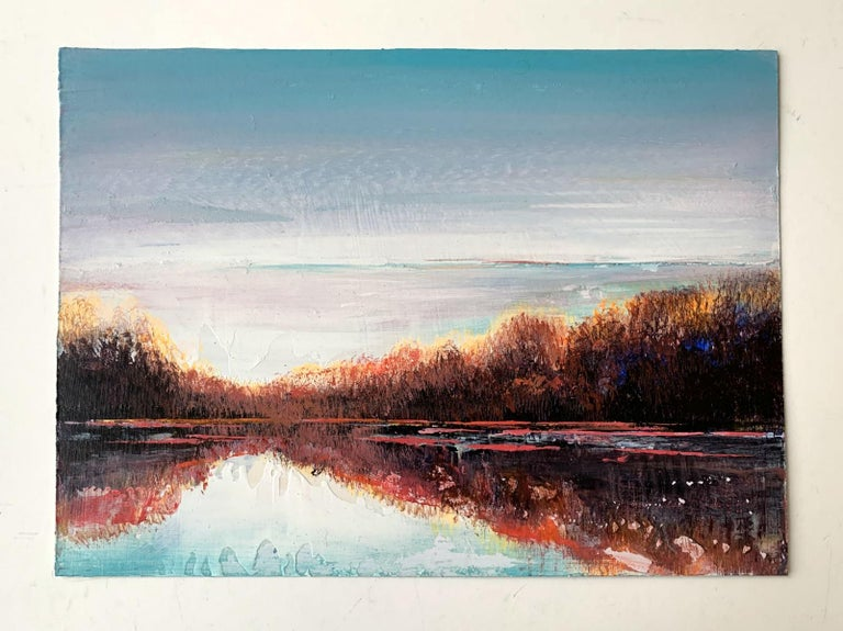 Landscape VIII - XXI Century, Contemporary Acrylic Painting, Landscape - Gray Landscape Painting by Barbara Hubert