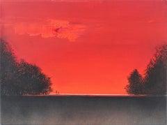 Landscape - XXI Century, Contemporary figurative oil, Vibrant red & black