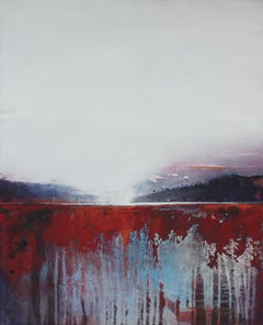Landscape - XXI Century, Oil figurative painting, Red
