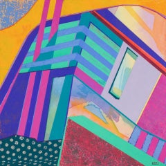 Askew #106, abstract multicolored architectural interior acrylic painting, 2021