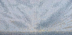 Gravitate, diptych, acrylic on panel, gray, abstract