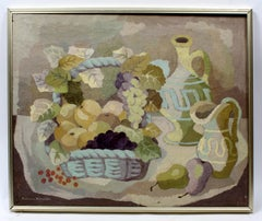 Mid-Century Abstract Still Life Grapes Wine Purple Green Framed Oil Painting