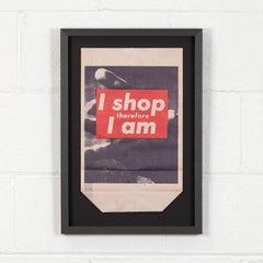 """Barbara Kruger """"I Shop Therefore I am"""" Shopping Bag Multiple, 1990 Framed"""