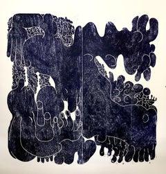 Dance around a shared spot, Hand Printed Work, Woodcut