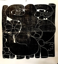 Stretching into an outside area, Hand Printed Work, Woodcut