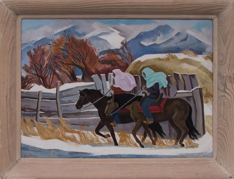 Indians Riding (Taos, New Mexico) - Painting by Barbara Latham
