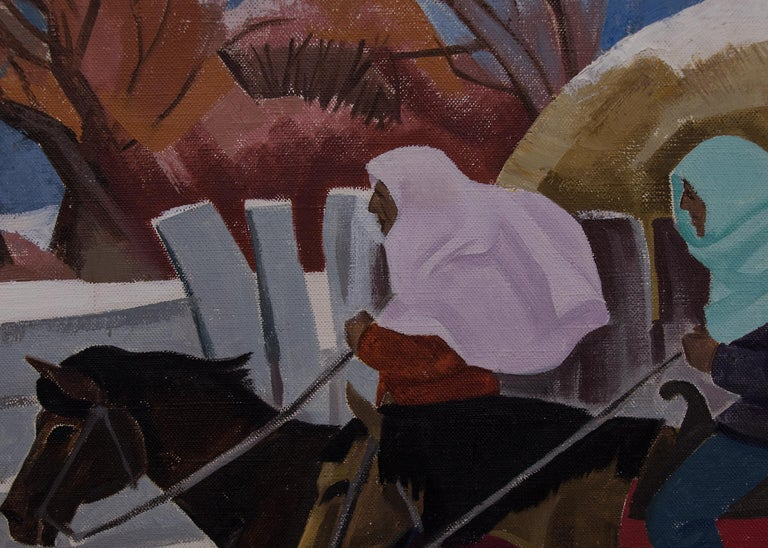 Indians Riding (Taos, New Mexico) - Gray Figurative Painting by Barbara Latham