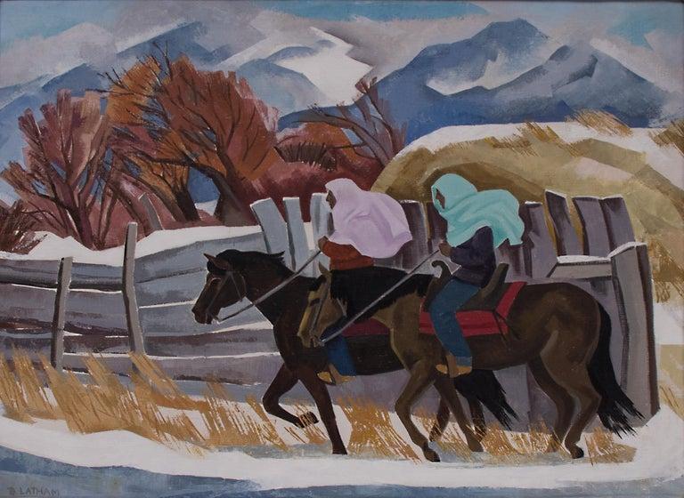Barbara Latham Figurative Painting - Indians Riding (Taos, New Mexico)