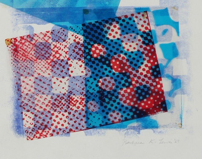 Mixed Media Abstract Collage in Blue, 1969 - Print by Barbara Lewis