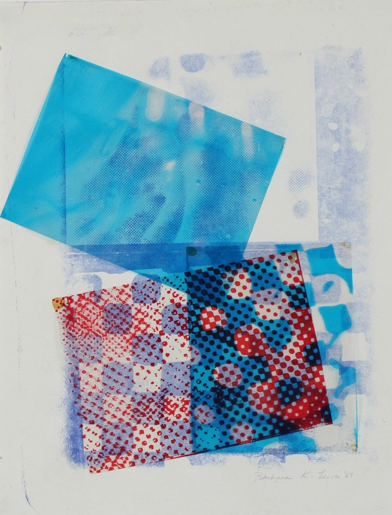 Barbara Lewis Abstract Print - Mixed Media Abstract Collage in Blue, 1969