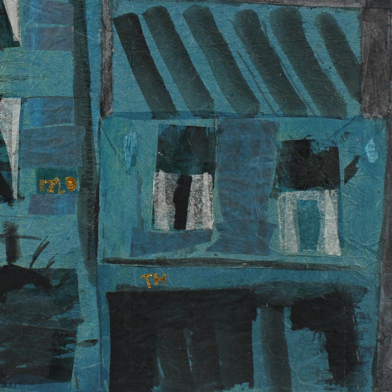 Modernist Building in Teal, Collage and Painting, Late 20th Century For Sale 2