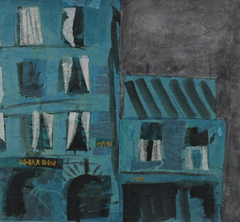 Modernist Building in Teal, Collage and Painting, Late 20th Century - Mixed Media Art by Barbara Lewis