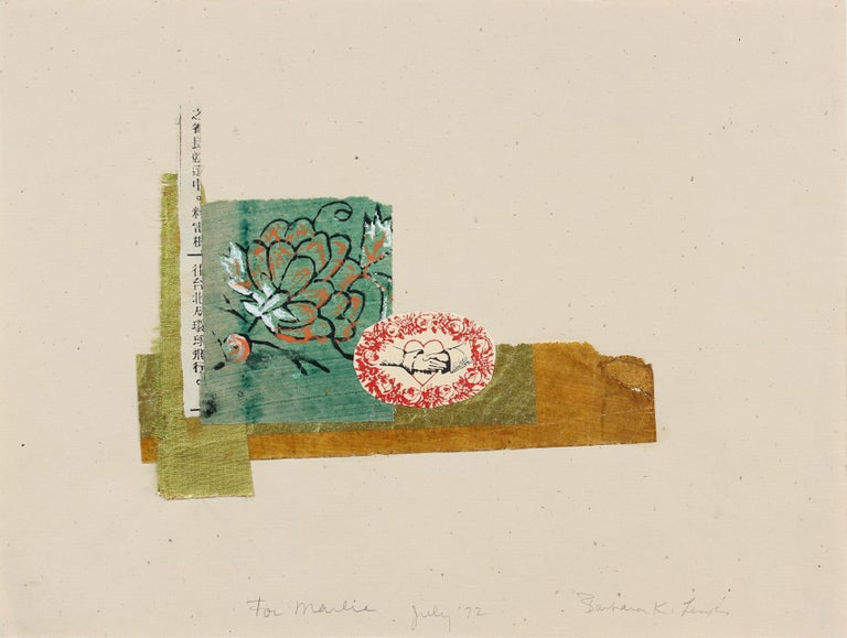 Romantic Mixed Media Collage with Turquoise Flower & Red Heart, July 1972 - Print by Barbara Lewis
