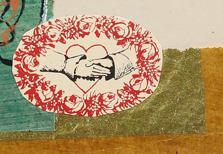 Romantic Mixed Media Collage with Turquoise Flower & Red Heart, July 1972 - Green Abstract Print by Barbara Lewis