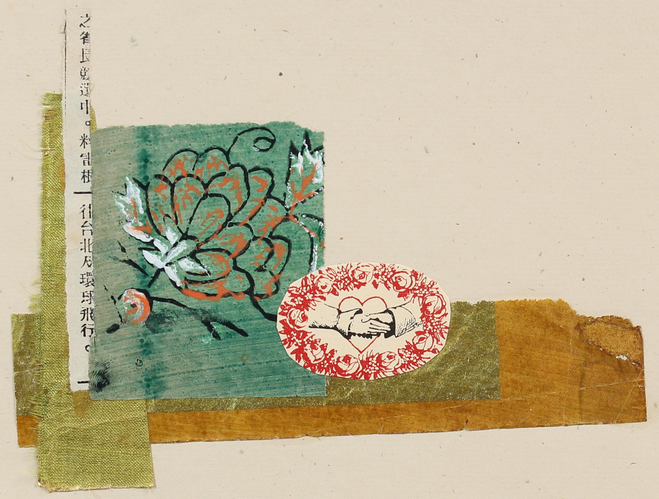 Romantic Mixed Media Collage with Turquoise Flower & Red Heart, July 1972