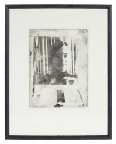 """Sara"" Black and White Portrait of a Woman, Photo Emulsion Print, 1970"