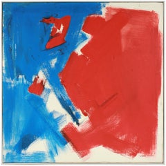 Large Abstract Expressionist Oil Painting in Red and Blue, Mid 20th Century