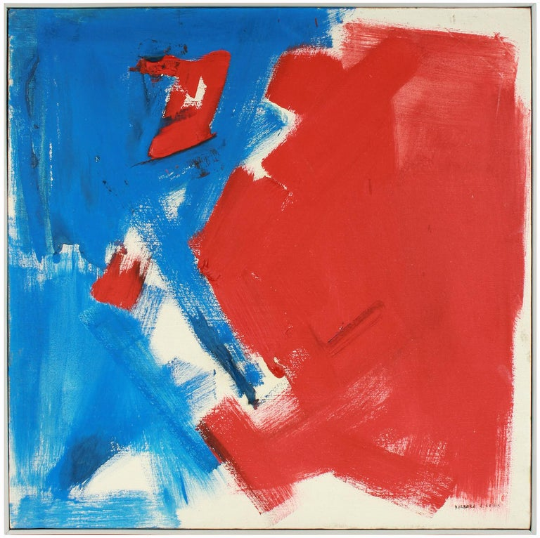 Barbara Lewis Abstract Painting - Large Abstract Expressionist Oil Painting in Red and Blue, Mid 20th Century