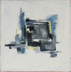"""""""Loop in Winter"""" 20th Century Oil Painting Abstract in Blue"""