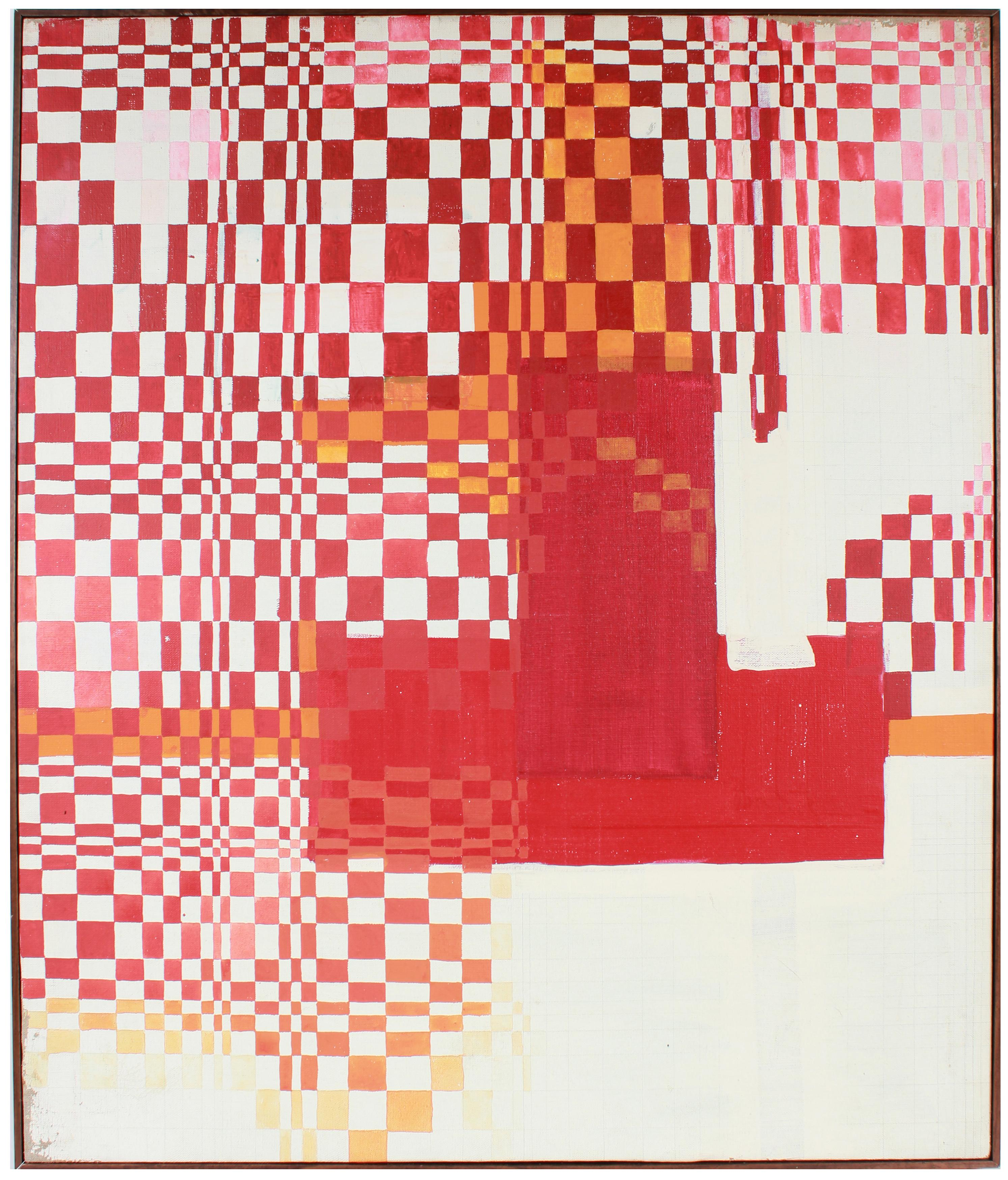 """""""Tigerman Assignment"""" Large Geometric Checkered Oil Painting with Red"""