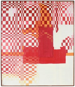 """Tigerman Assignment"" Large Geometric Checkered Oil Painting with Red"
