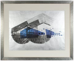 "1970's ""Libson Station"" Graphic Serigraph on Silver Paper"
