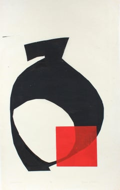 1970s Serigraph Abstracted print in Red and Black