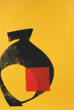 1970s Serigraph Abstracted print in Yellow and Red