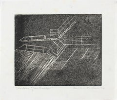 "1970s ""Shadow of an Escape"" Monochromatic Etching"