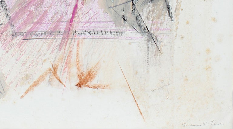 20th Century Pink and Black Abstract, Pastel on Paper - Abstract Expressionist Mixed Media Art by Barbara Lewis