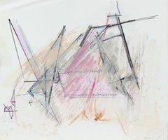 20th Century Pink and Black Abstract, Pastel on Paper