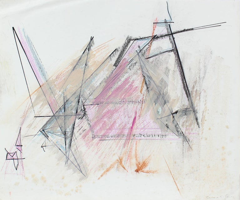 20th Century Pink and Black Abstract, Pastel on Paper - Mixed Media Art by Barbara Lewis