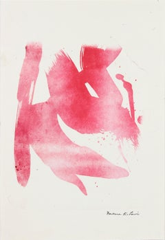 Abstracted Minimal Lithograph on Paper in Red