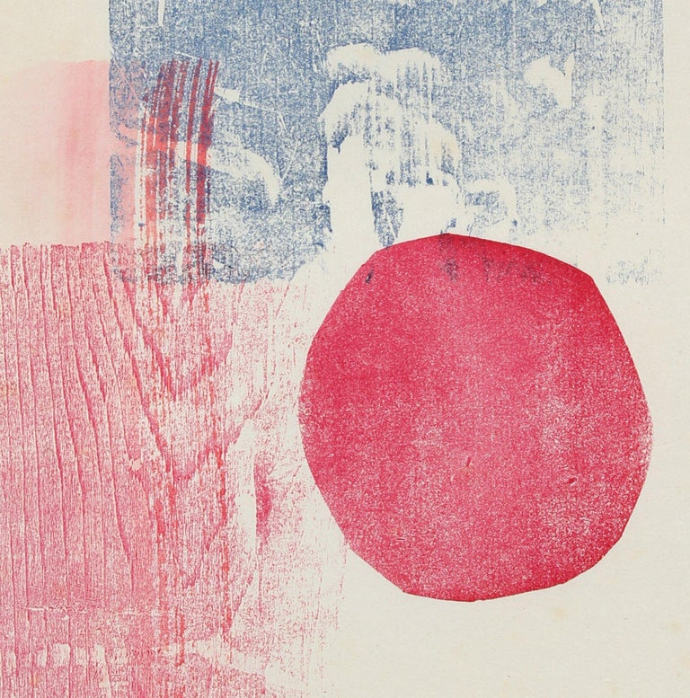 Circular and Rectilinear Forms Late 20th Century Print in Blue and Red - Beige Abstract Print by Barbara Lewis