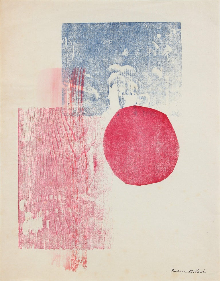 Barbara Lewis Abstract Print - Circular and Rectilinear Forms Late 20th Century Print in Blue and Red