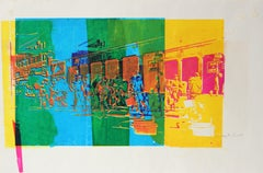 Colorful Serigraph of Abstracted Industrial Cityscape of People Commuting 1970's