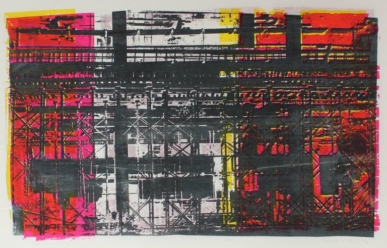 """Barbara Lewis Abstract Print - """"Construction"""" Abstracted Industrial Scene in Red and Black, Serigraph, 1973"""