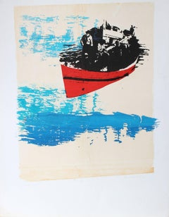 """Fisherman (No. 3)"" Abstracted Seascape Serigraph, 1972"