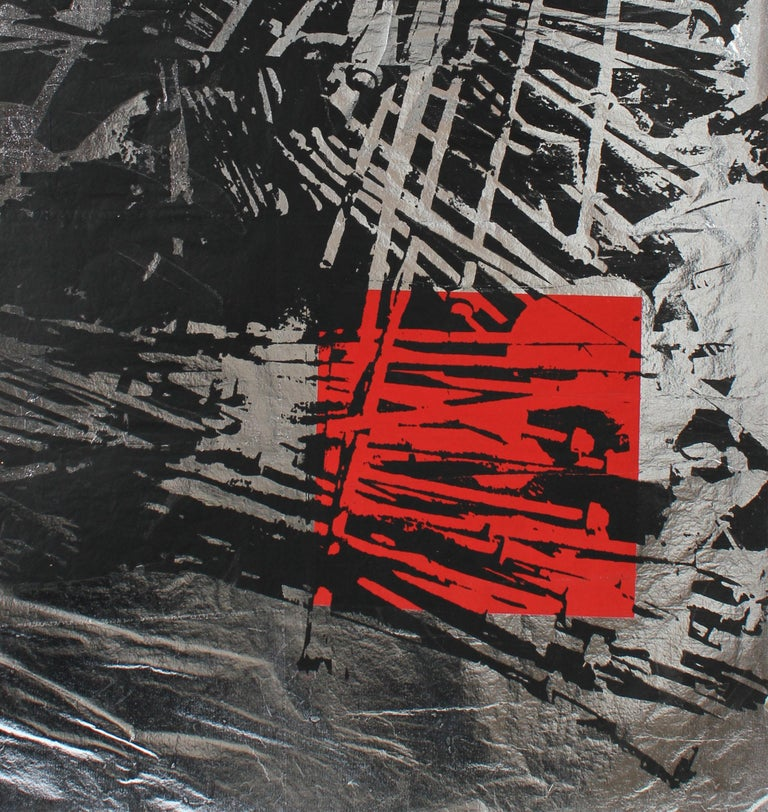 Graphic Serigraph in Black and Red on Silver Paper, circa 1970's - Print by Barbara Lewis