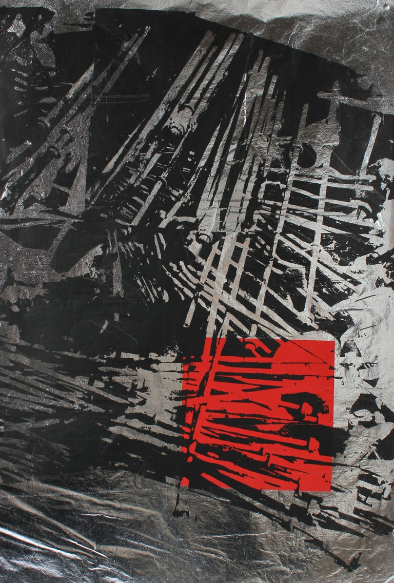 Barbara Lewis Abstract Print - Graphic Serigraph in Black and Red on Silver Paper, circa 1970's