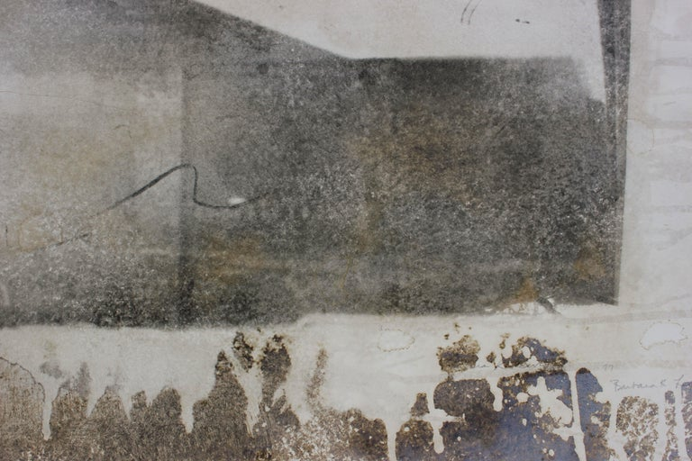 Industrial Abstract Cityscape, Photo Emulsion Print, 1977 - Gray Landscape Print by Barbara Lewis