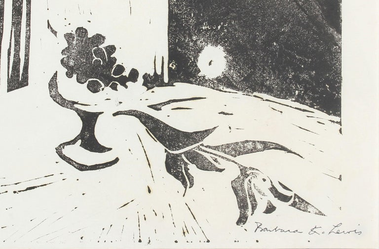 Late 20th Century Woodcut Print of A Still Life  - Beige Abstract Print by Barbara Lewis